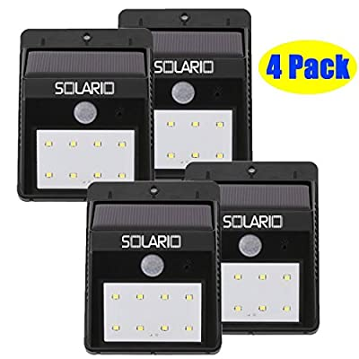 Solar Powered Security Floodlights - Set of 4 - Motion Activated Lights- Wireless Outdoor Light- 80 Lumen Ultra Bright LEDs- Peel and Stick- Best for Patio, Garden, Path, Pool, Yard, Deck (Black) (4)
