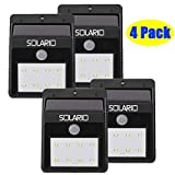 Solar Powered Security Floodlights- Set of 4- Motion Activated Lights- Wireless Outdoor Light- 80 Lumen Ultra Bright LEDs- Peel and Stick- Best for Patio, Garden, Path, Pool, Yard, Deck (Black) For Sale