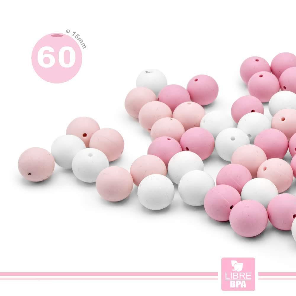 Viele Silikonst/ücke zur Montage von Schnullern//Halsketten//Bei/ßring f/ür die Stillzeit RUBY kombinierte Farben Pink, /Ø12mm Kugeln