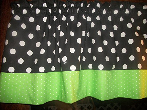 Black Green Polka Dot hello kitty minnie mouse fabric kitchen curtain Valance (Lime Green Polka Dot Curtains)