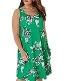 Rotita Women Floral Plus Size Tank Dress Sleeveless Summer Swing T-Shirt Mini Dresses with Pockets