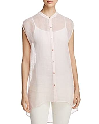4ef7d22e16 Eileen Fisher Organic Linen Mesh Shell Mandarin Collar Shirt Size XS MSRP  198 at Amazon Women s Clothing store