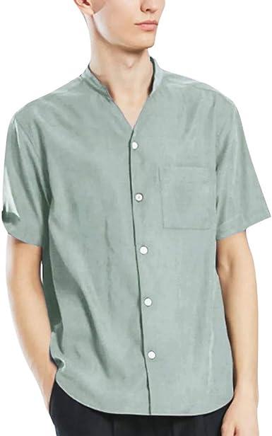 Camisa Informal para Hombre, de algodón y Lino, de Corte ...
