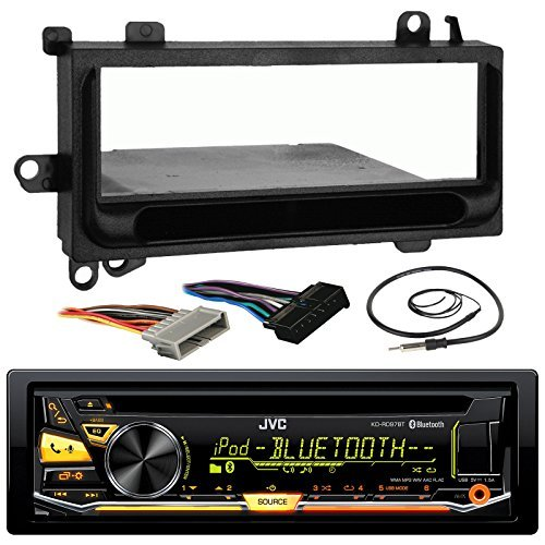 JVC KD-RD97BT Car CD MP3 iPod Bluetooth Stereo Receiver Bundle Combo W/ Metra Installation Kit For 1974 and Up Chrysler/Dodge/Jeep Cars + Radio Wiring Harness + Enrock Antenna W/ Adapter Cable