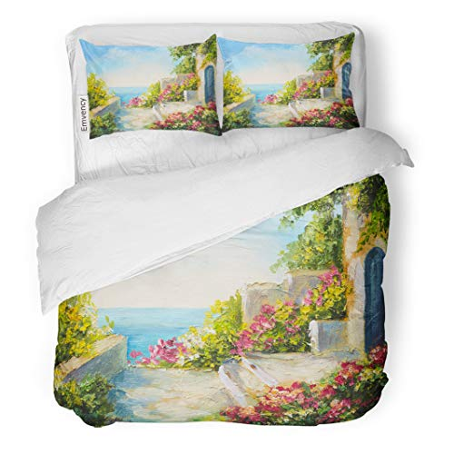 Semtomn Decor Duvet Cover Set Twin Size Oil Painting House Near The Sea Colorful Flowers Summer 3 Piece Brushed Microfiber Fabric Print Bedding Set Cover]()
