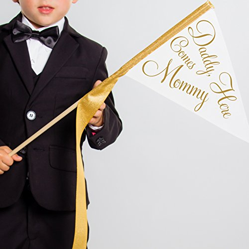 Daddy Here Comes Mommy Wedding Sign for Flower Girl or Ring Bearer 1032
