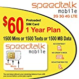 1 Year Prepaid GSM SIM Card - Rollover 1500 Talk Text Data