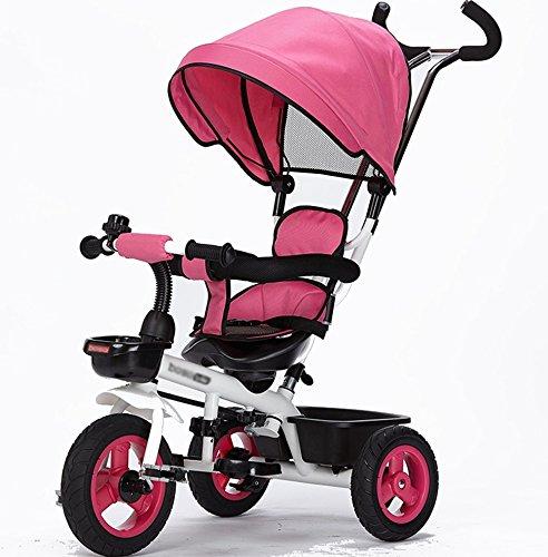 三輪車の赤ちゃんキャリッジバイク子供のおもちゃの車のチタンの空の車輪の自転車3つの車輪、保護的な天井、シートステアリング(ボーイ/ガール、1-3-5歳) (色 : ピンク ぴんく) B07DVCW5QV ピンク ぴんく ピンク ぴんく