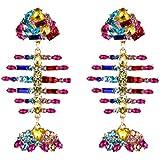 Merdia Dangle Drop Earrings Long Fish Bone Shape Earrings Shiny Cubic Zirconia Pendant Stud Earrings Bohemian-Colorful