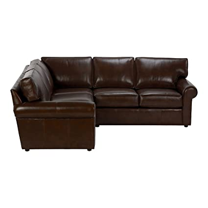 Ethan Allen Retreat Roll Arm Leather Three Piece Sectional, Omni Brown  Top Grain