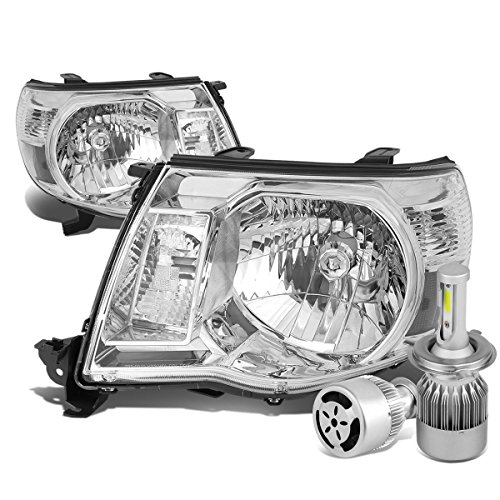 For Tacoma 2nd Gen TRD Style Pair of Chrome Housing Clear Corner Headlight + H4 LED Conversion Kit W/Fan