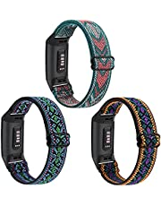 3 Pack Adjustable Elastic Bands Compatible with Fitbit Charge 4 Bands/ Charge 3 / Charge 4 SE, Soft Stretchy Loop Replacement Wristbands Bracelet Women Men