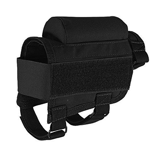 YB Tactical Buttstock Cheek Rest with Ammo Carrier Case Holder for .308 .300 Winmag Black Color by YB (Image #1)