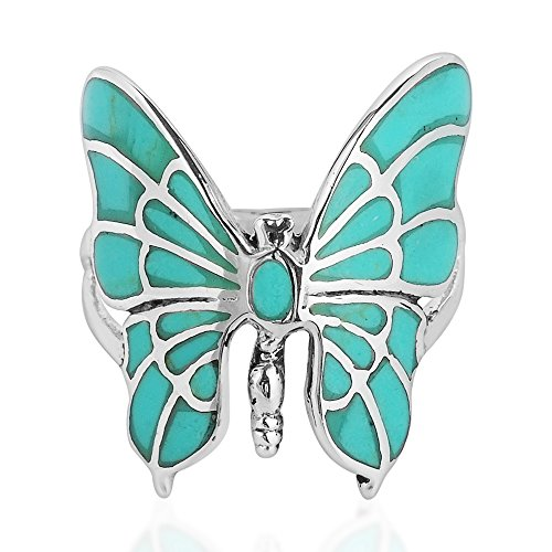 (AeraVida Exotic Graceful Butterfly Simulated Green Turquoise Inlay .925 Sterling Silver Ring (8))