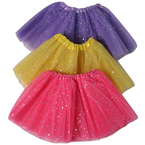 Girls Ballerina Sparkle 3 Pack Dress Up Tutu Set (Lavender/Pink/Yellow)