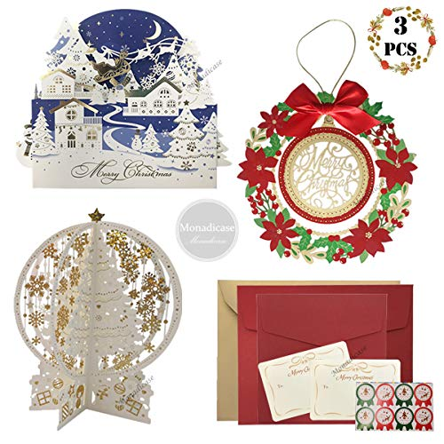 Christmas 3D Cards Decorations, 3 Pcs Merry Christmas Pop Up Greeting Cards with Envelope Stickers - Include Snowflake Crystal Tree/Garland/Christs Eve Card, Invitation Gifts for Xmas New Year - Christmas Newest Cards