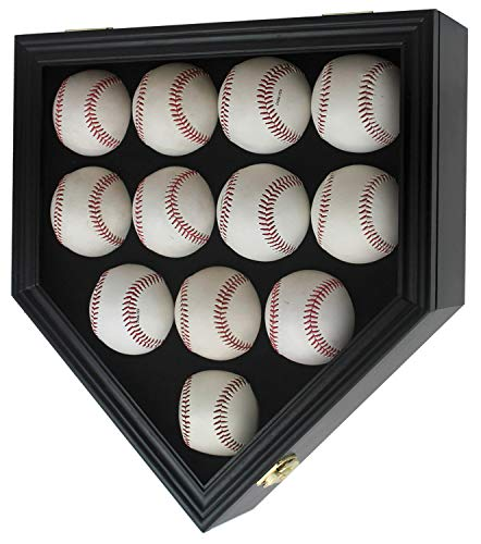 12 Baseball Display Case Wall Cabinet Shadow Box W/UV Protection Door, B212(UV) (Black) ()