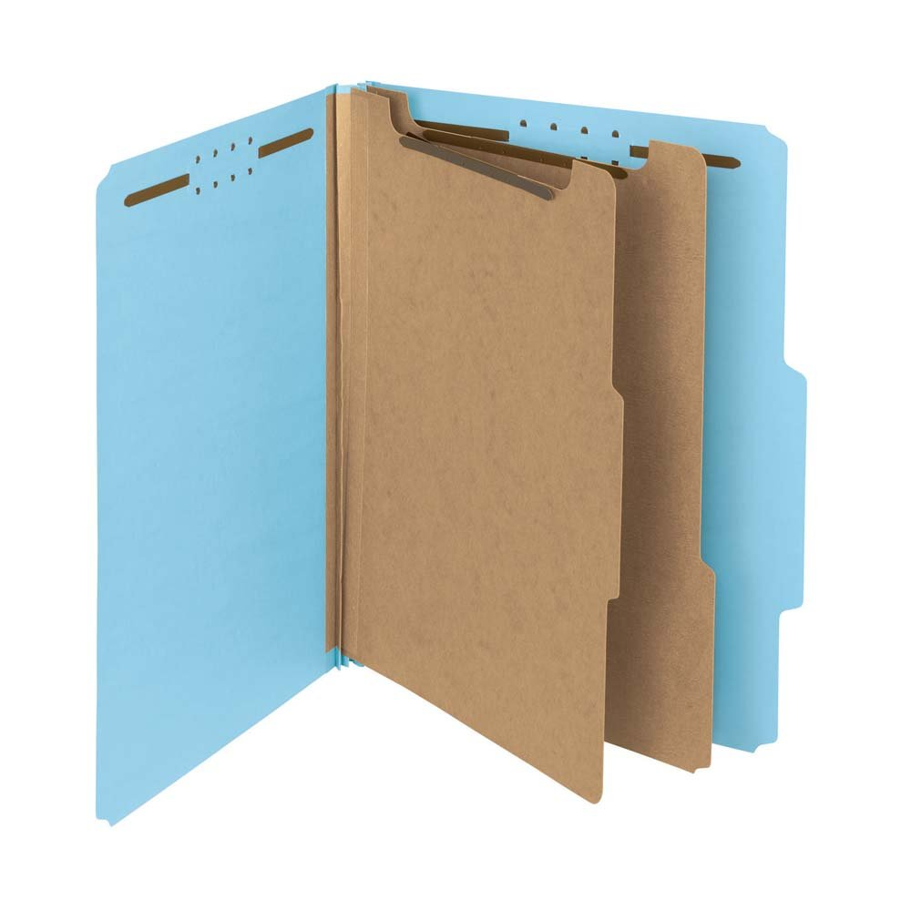 Smead 100% Recycled Pressboard Classification File Folder, 2 Dividers, 2'' Expansion, Letter Size, Blue, 10 per Box (14021)