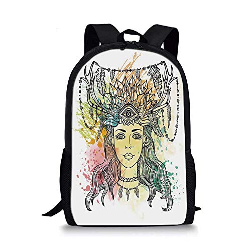 - Occult Decor Stylish School Bag,Female Shaman with Third Eye Form on Head with Watercolors Splashes Occultism Image for Boys,11''L x 5''W x 17''H
