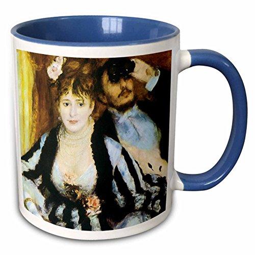 Logen Collection - 3dRose BLN Impressionist Fine Art Collection - La Loge by Pierre-Auguste Renoir - 15oz Two-Tone Blue Mug (mug_127357_11)