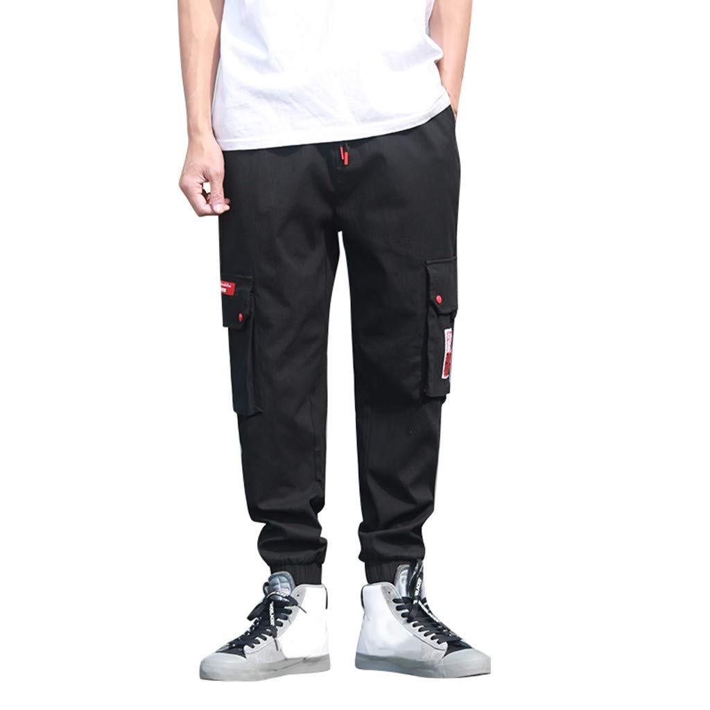Cianjue_Dress Men's Casual Sport Pant Elastic Waist Drawstring Pants with Multi-Pocket Overalls Cargo Short Black