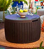 STS SUPPLIES LTD Whiskey Barrel Table Top Half Outdoor Decor Accent Patio Side Storage Bistro Low Narrow End Garden Rustic Portable & eBook by AllTim3Shopping.