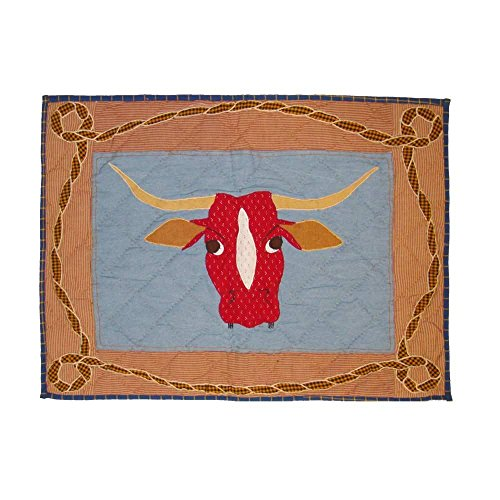 Patch Magic Cowboy Long Horn Pillow Sham, 27-Inch by 21-Inch