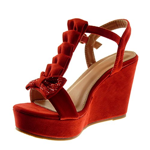 Angkorly Zapatillas Moda Sandalias Mules Correa Correa de Tobillo Plataforma Mujer Nodo Strass con Volante Plataforma 10 cm Rojo