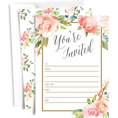 25 Floral Party Invitations with Envelopes | Blank,