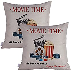 Queenie® - 2 Pcs Movie & Music Theme Decorative Pillow Cases Throw Cushion Covers 45 cm x 45 cm 18 x 18 Inch (Movie Time B)