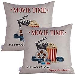 Queenie® - 2 Pcs Movie & Music Theme Decorative Pillow Cases Throw Cushion Covers 45 cm x 45 cm 18 x 18 Inch (Movie Time B)