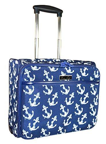 Ever Moda Anchors Rolling Wheeled Laptop Case (Navy Blue)