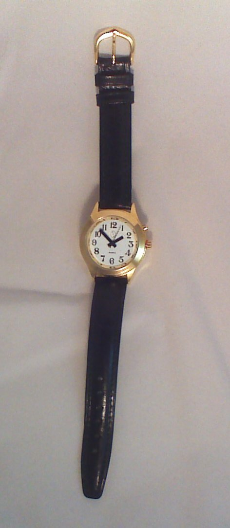 Women's Deluxe Talking Watch Gold Tone with Black Leather Band by Active Products Plus