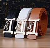 Fashion Brand Leather Belts for Men and Women Belt Famous Designer Horse Gold Silver Buckle Women Mens Belts Luxury Belt Lake blue one size