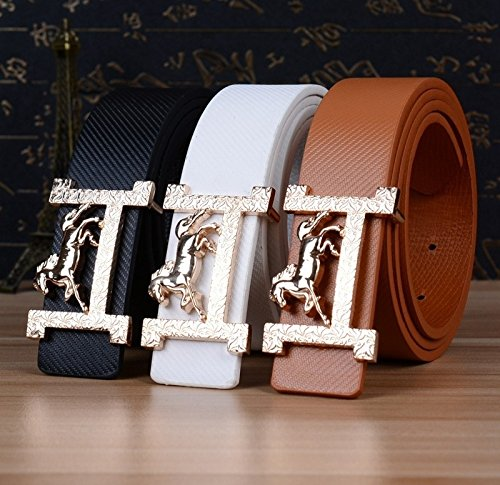 Fashion Brand Leather Belts for Men and Women Belt Famous Designer Horse Gold Silver Buckle Women Mens Belts Luxury Belt Lake blue one size