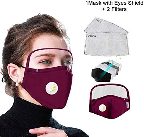 6PCS+12 Filter New 2020 Detachable Protective Breathing With Eyes Shield Adult new Fashion Women and Man Face Covering Cycling【In Stock】