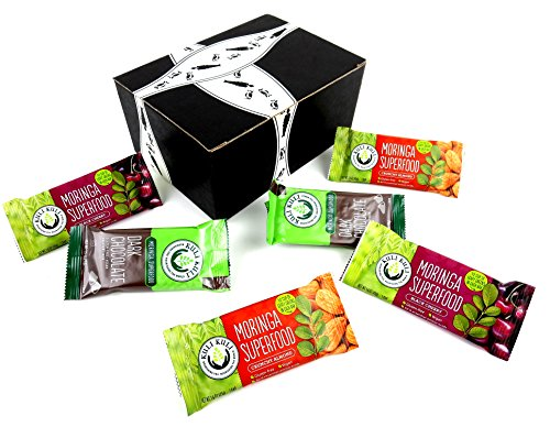 Kuli Kuli Moringa Superfood Bars 3-Flavor Variety: Two 1.6 oz Bars Each of Dark Chocolate, Crunchy Almond, and Black Cherry in a BlackTie Box (6 Items Total)