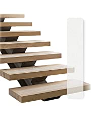 """LINCONSON Clear Slip Resistant Stairs Tread Grip Tape 4"""" x 32"""" (15 Pack Anti Slip Strips-PVC Free) Safety Performance Series (at 4032PE) Easy Install Roller Included"""