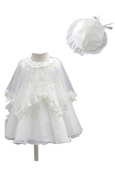 asapbay conjunto de 3 pieza traje de bautizo + sombrero + Cape bebé princesa bautizo ceremonia