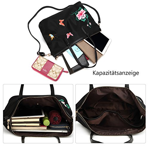 sac cuir à à fleurs véritable en sac main style dos dos Femmes la papillon bandoulière sac à à chinois broderie broderie nT8qnw50fx