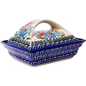 Polish Pottery Ceramika Boleslawiec 0352/169 Butter Deep Dish, 2 Cubes