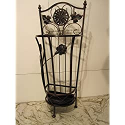 Brown Metal Wrought Iron Umbrella Holder Stand
