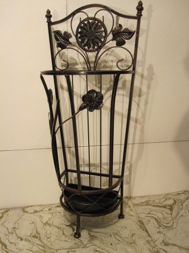 Brown Metal Wrought Iron Umbrella Holder Stand ()