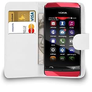 Mobi Plus Nokia 305 White Leather Wallet Flip Case cubierta de bolsa