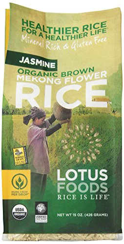 Lotus Foods Gourmet Organic Brown Mekong Flower Rice, Jasmine, 15-Ounce (Pack of 6)
