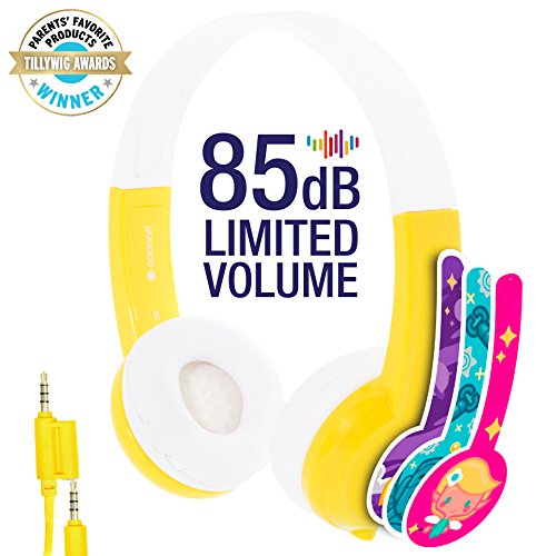 Explore Volume Limiting Kids Headphones - Durable, Comfortable & Customizable - Built in Headphone Splitter and In Line Mic - For iPad, Kindle, Computers and Tablets - Yellow