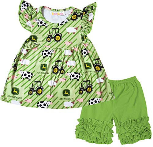 (Boutique Little Girls Summer Farm Trip Cow Tractor Ruffles Top Shorts Outfit Set Green)