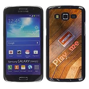 Smartphone Rígido Protección única Imagen Carcasa Funda Tapa Skin Case Para Samsung Galaxy Grand 2 SM-G7102 SM-G7105 Play Me Quote Cassette Tape Art 90S Music / STRONG