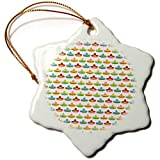 3dRose Anne Marie Baugh - Patterns - Cute and Colorful Mexican Hats On A White Background Pattern - 3 inch Snowflake Porcelain Ornament (ORN_295477_1)