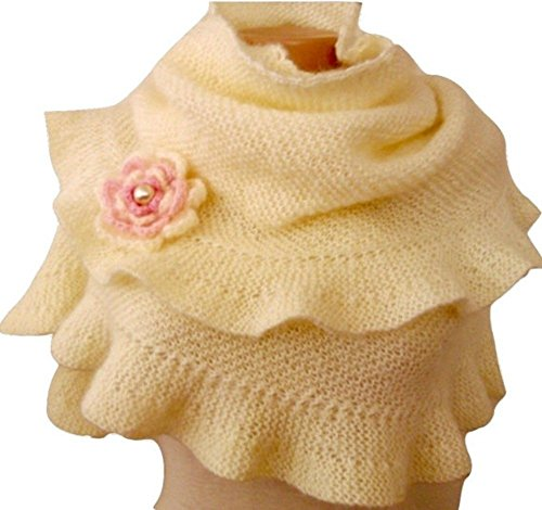 Cream Mohair Ruffle Shawl, Scarf with Removable Crochet Flower by Jasmine Creations